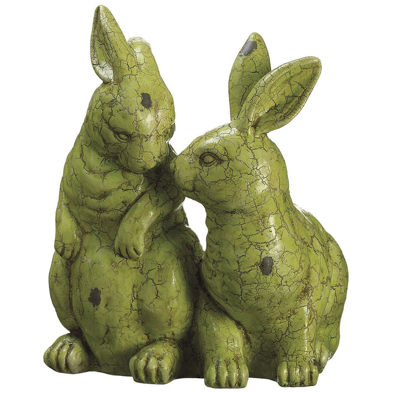 "Green 12"" Paper Mache Bunnies Statuette - House of Silk Flowers®"