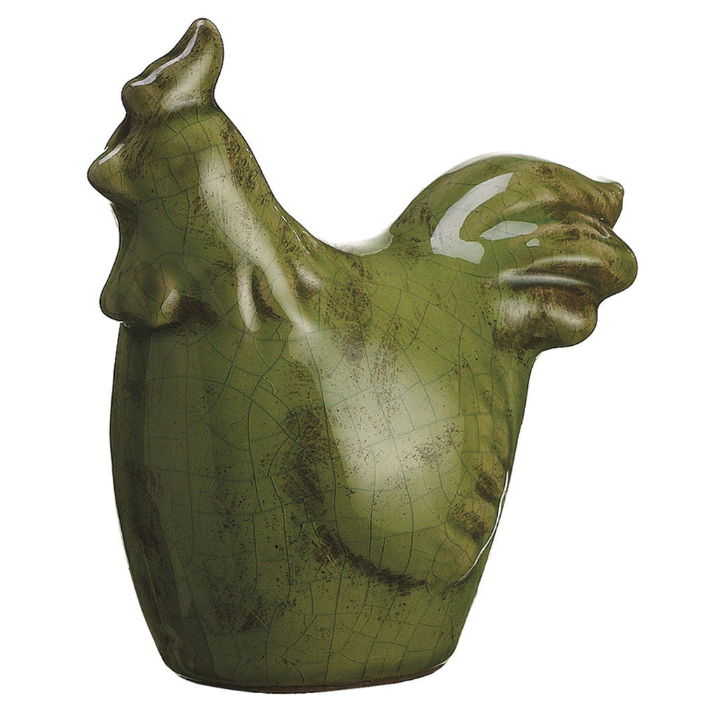 Green Terra Cotta Chicken Statuette - House of Silk Flowers®  - 1
