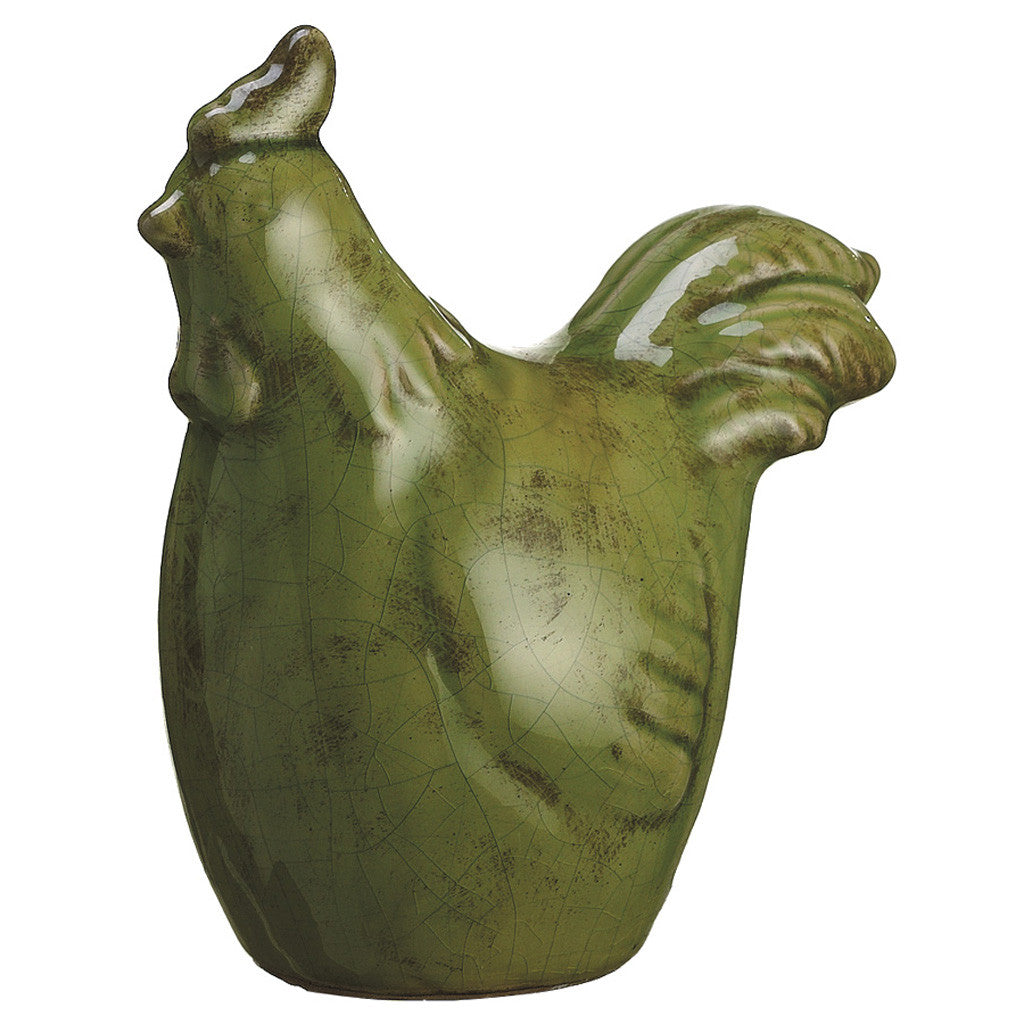 Green Terra Cotta Chicken Statuette - House of Silk Flowers®  - 2