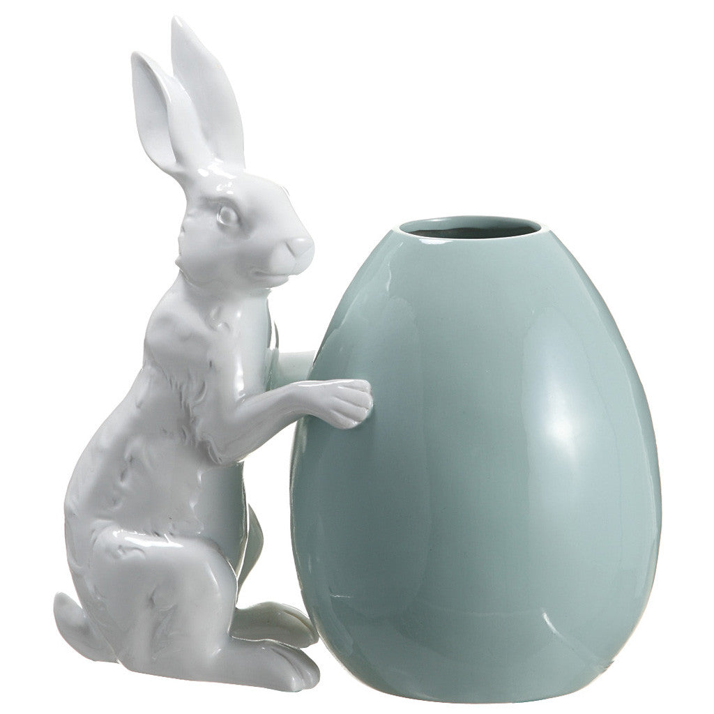 White Polyresin Bunny w/Turquoise Egg - House of Silk Flowers®  - 1
