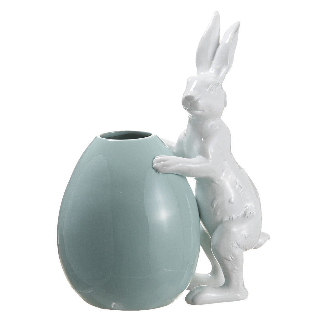 White Polyresin Bunny w/Turquoise Egg - House of Silk Flowers®  - 2
