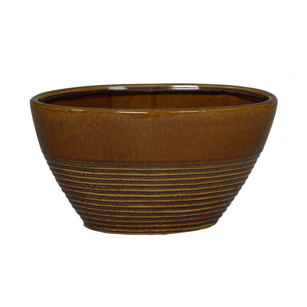 Gloss Brown Ceramic Oval Vase/Planter - House of Silk Flowers®