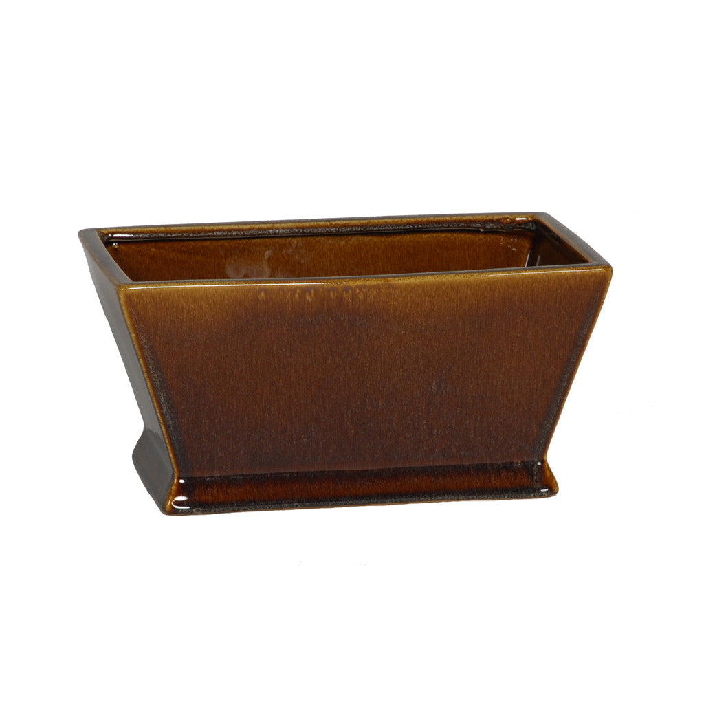 Gloss Brown Ceramic Rectangular Tapered Vase/Planter - House of Silk Flowers®