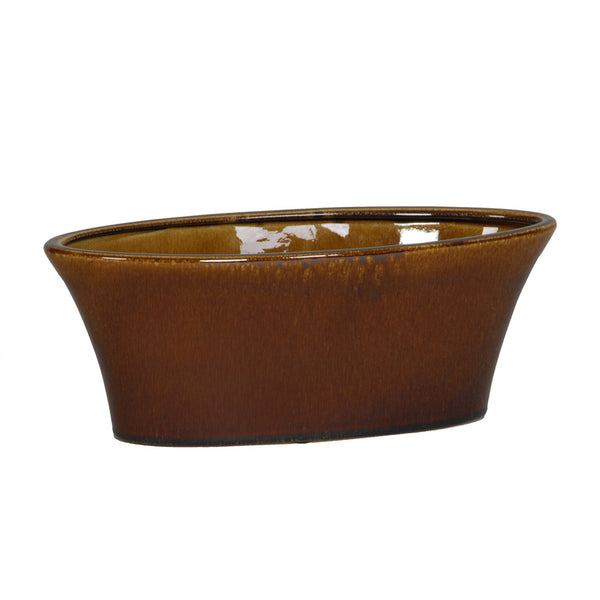 Gloss Brown Ceramic Oval Tapered Vase/Planter