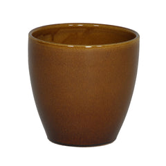 Gloss Brown Ceramic Round Vase/Planter - House of Silk Flowers®