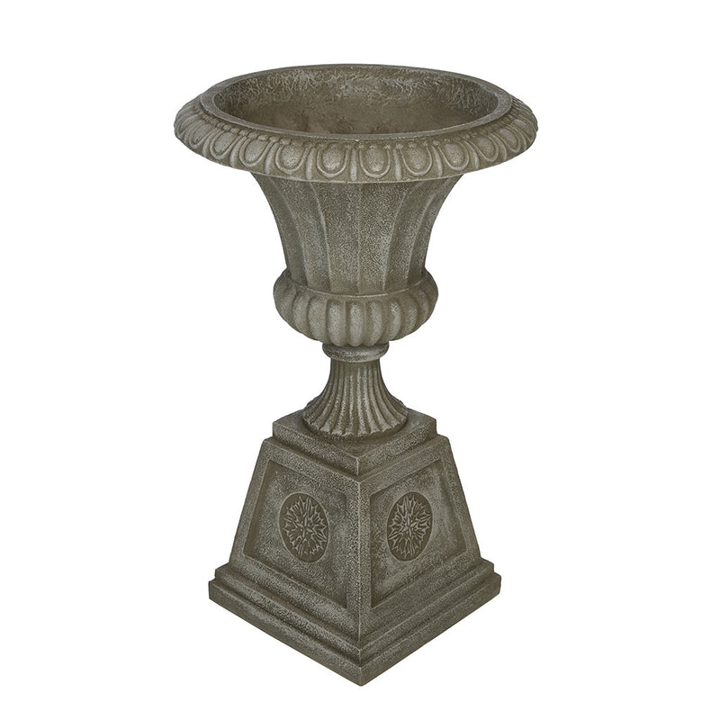 "26"" Grey Round Decorative Urn"