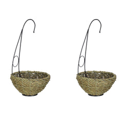 Reed and Metal Hanging Basket - Set of 2