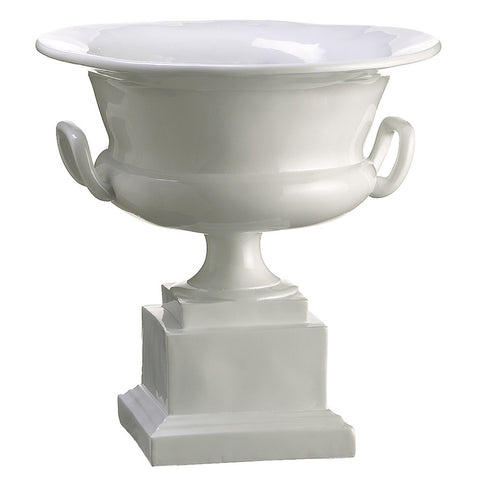 "White 10.5"" Polyresin Urn"