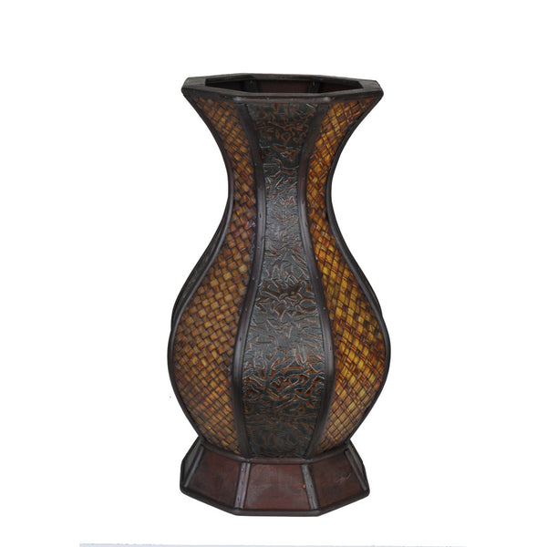 "Decorative Genie-Style Wood/Rattan Vase - 17"" tall x 9"" diameter"