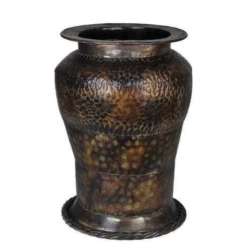 "Decorative Hammered Metal Vase - 16"" tall x 11 1/2"" diameter - House of Silk Flowers®"