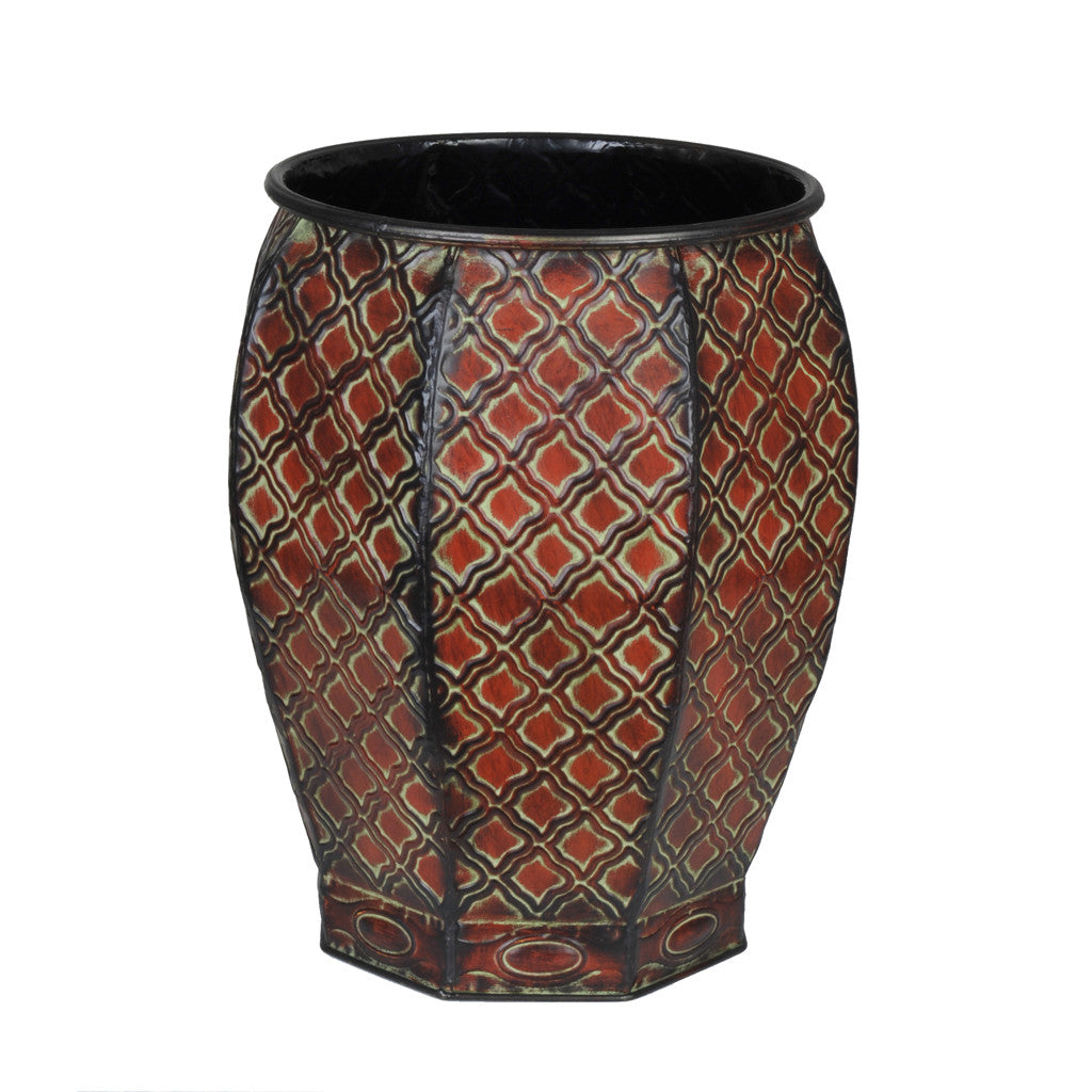 "Decorative Octagon Metal Vase - 14 1/4"" tall x 12"" diameter - House of Silk Flowers®  - 1"