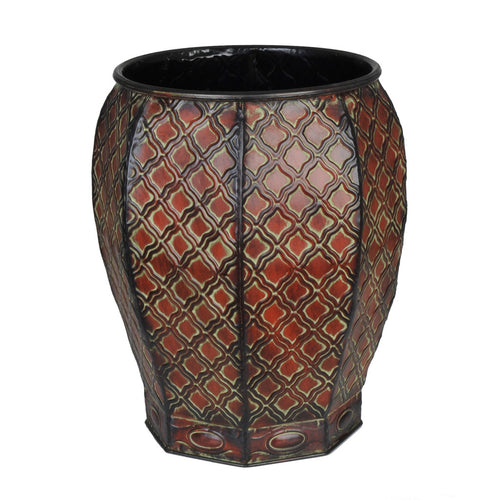 "Decorative Octagon Metal Vase - 14 1/4"" tall x 12"" diameter - House of Silk Flowers®  - 2"