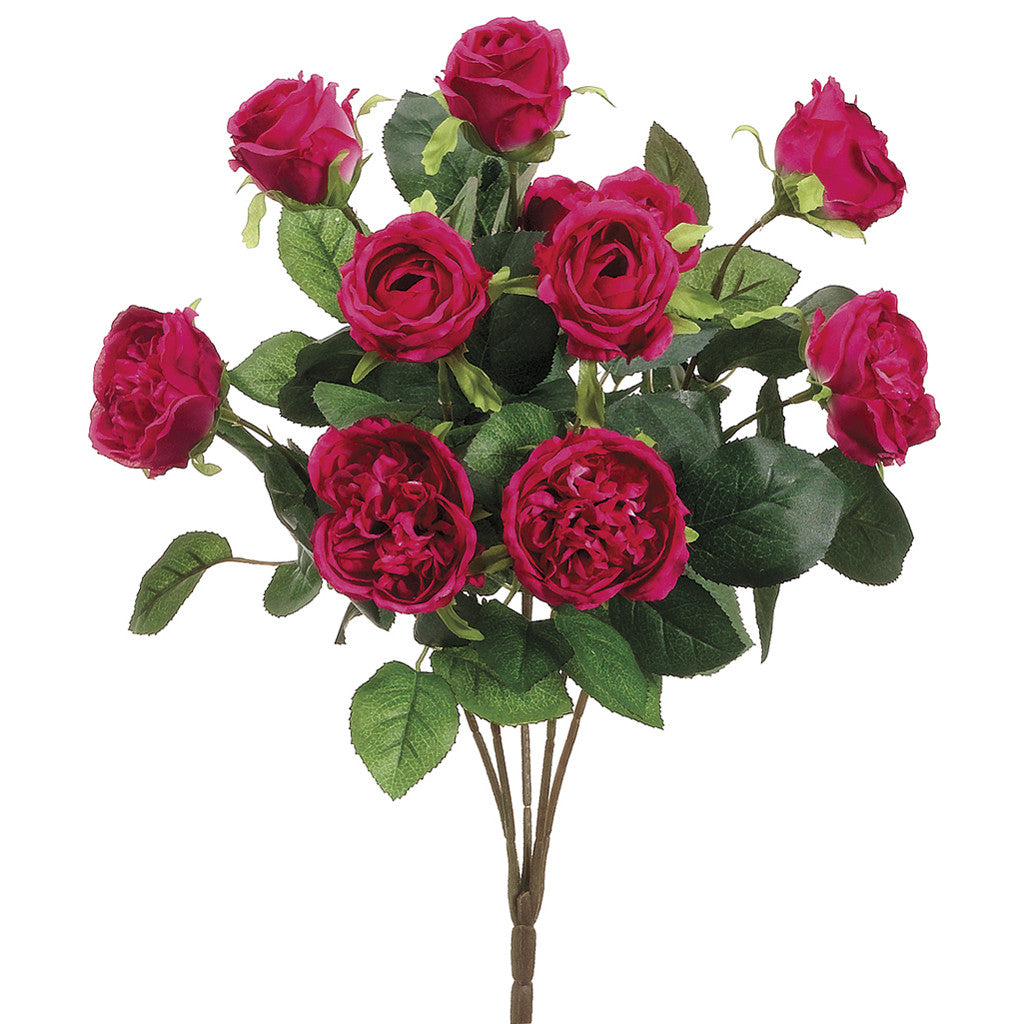 "Artificial 16"" Cabbage Rose Bush - House of Silk Flowers®  - 1"