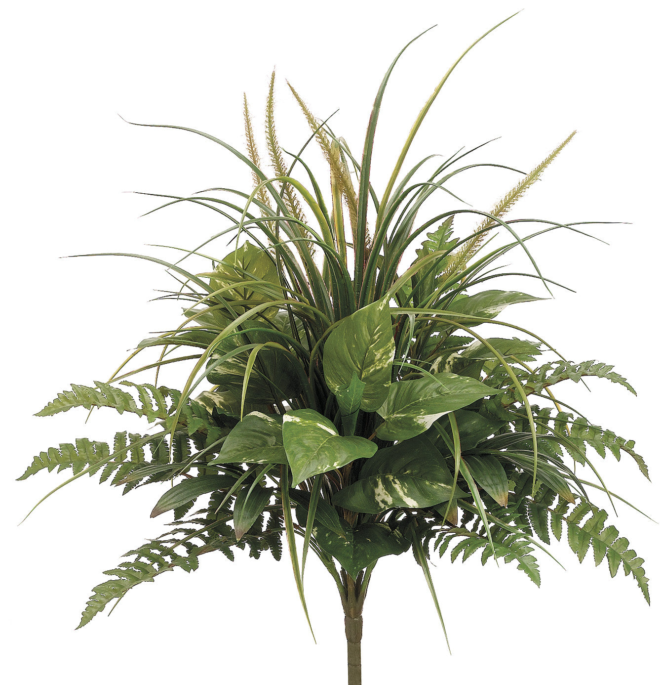 "Artificial 24"" Pothos/Grass/Fern Mixed Bush - House of Silk Flowers®"