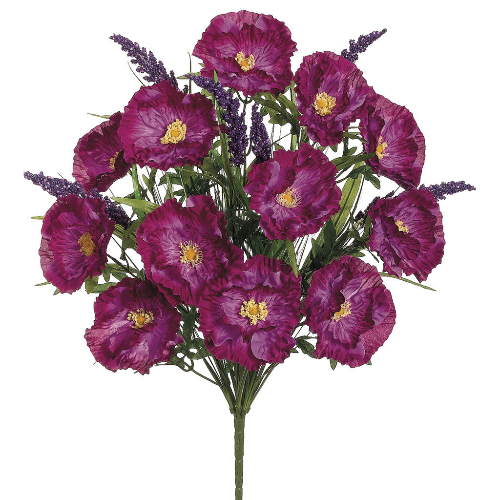 Artificial 23 12 Inch Orchid Pink Poppylupine Bush House Of Silk