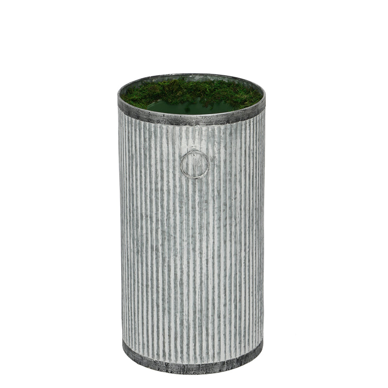 Large Ribbed Metal Planter Pot-in-a-Pot