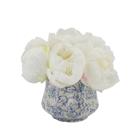Shabby Chic® White Peonies in Blue/White Toile Ceramic
