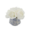 White Peonies in Blue/White Toile Ceramic
