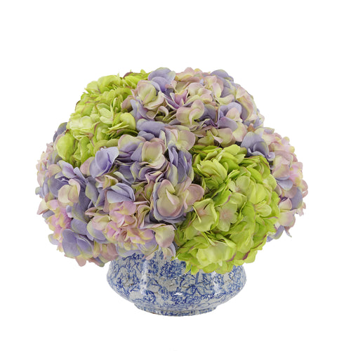 Lavender and Green Hydrangea in Blue/White Toile Ceramic