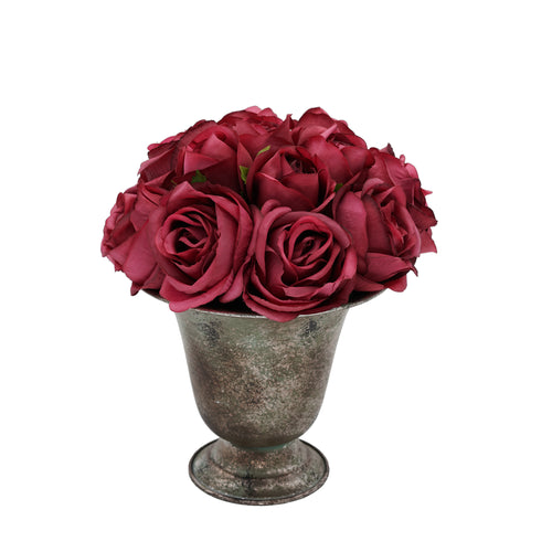 Shabby Chic® Bella Donna Burgundy Roses in Metal Urn