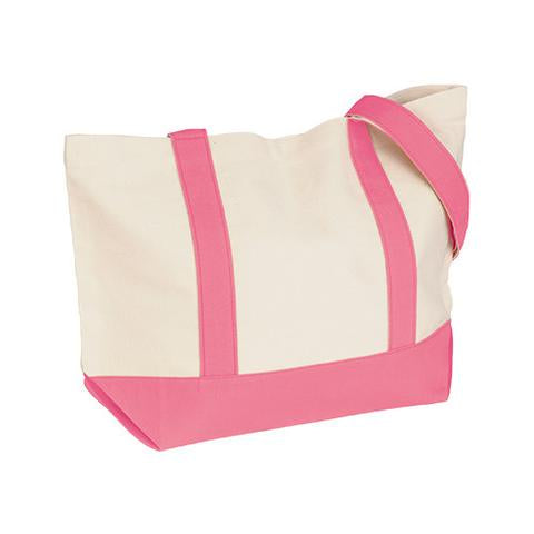 Custom 12 oz. cotton duck medium snap tote bag in Natural-Pink