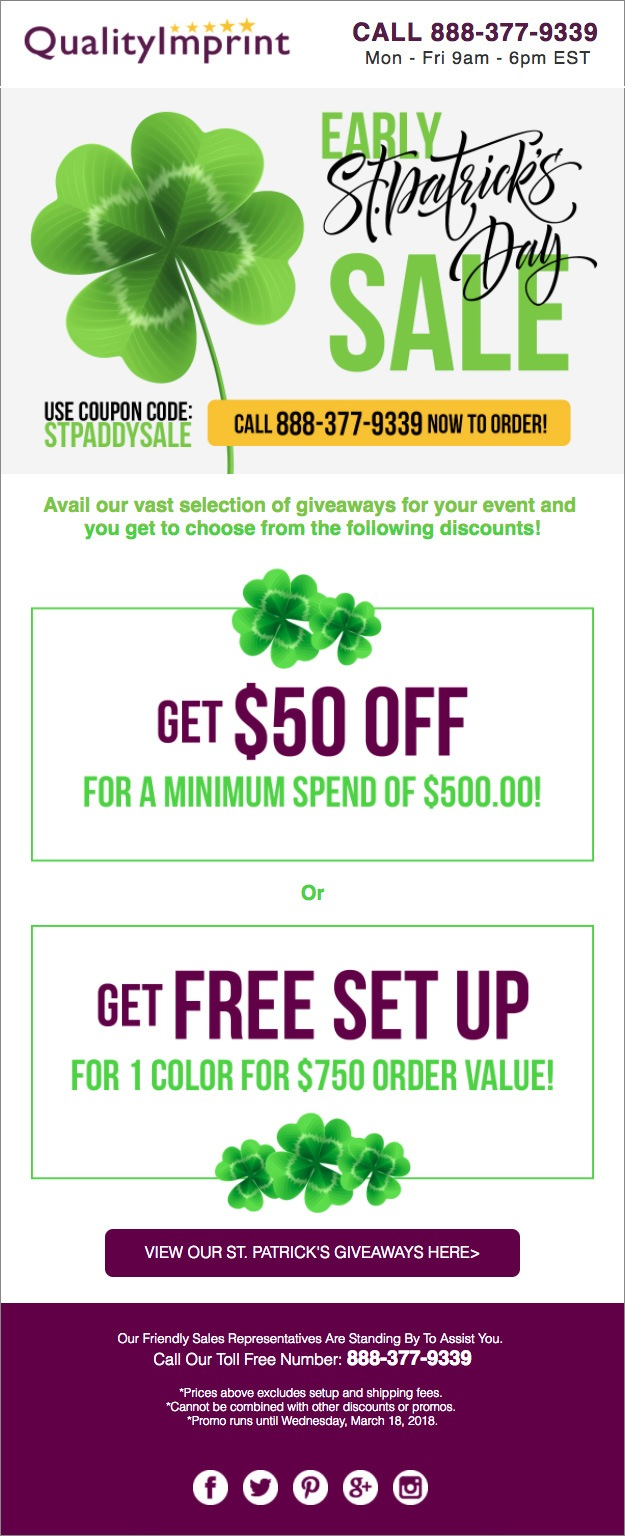 You're in luck with our early St. Patrick's day sale!