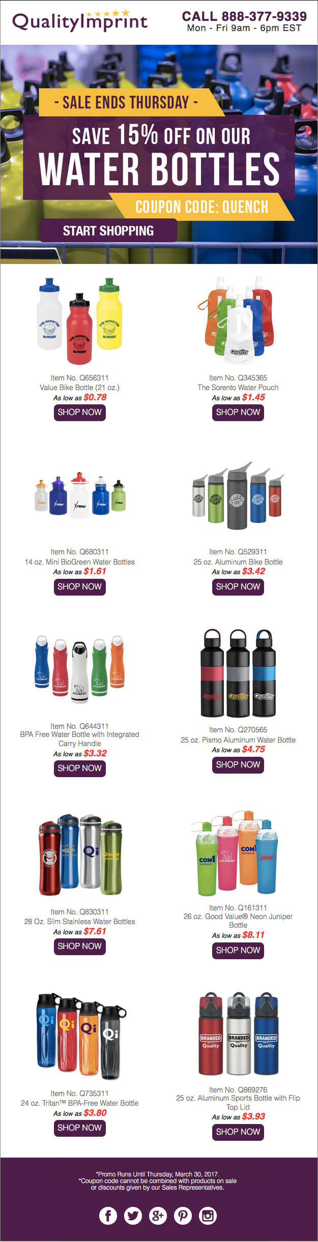 SAVE 15% ON WATER BOTTLES
