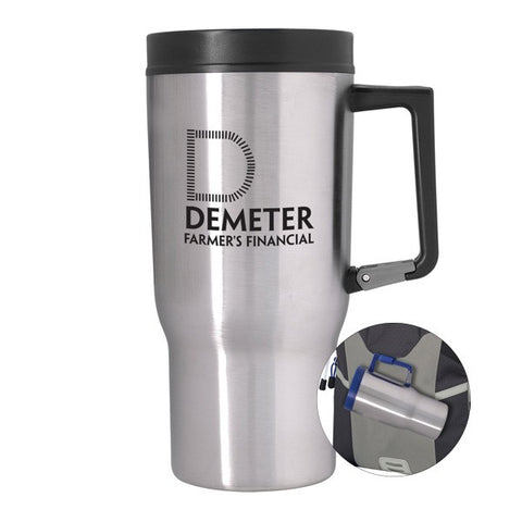 9023a36101f 20 Oz. Carabiner Grip Stainless Steel Travel Tumblers - Stainless Steel  Mugs - Q138711