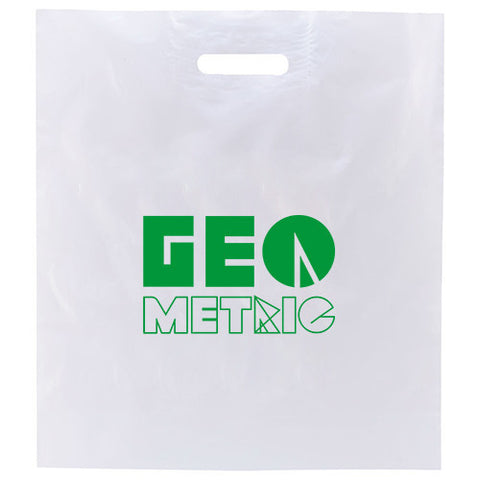 "Promotional White Patch Handle Bags 2.5mil (16"" x 18"") (Q16671) -  - 1"
