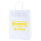 "Logoed White Kraft Shopping Bags (10"" x 5"" x 13.5"" x 5"") (Q26671) -  - 1"