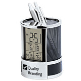 Desk Caddy Clock with Digital Calendar  Imprinted with Logo (Q279565)