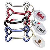 Dog Bone Carabiners with White Tags  Imprinted with Logo (Q404411)