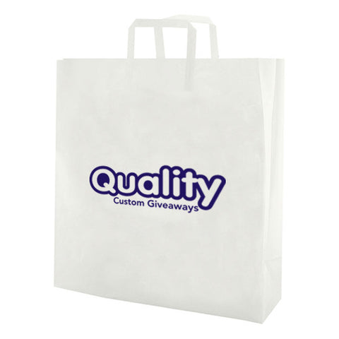 "Logoed Clear Frosted Tri-Fold Handle Shopping Bags (10"" x 5"" x 13"" x 5"" ) (Q44455) -  - 1"