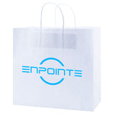 "Logoed White Kraft Shopping Bags (13"" x 7"" x 12.5"" x 7"") (Q46671) -  - 1"