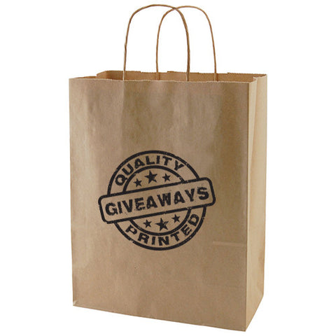 "Personalized 50% Recycled Natural Kraft Shopping Bags (10""x 5""x 13.5"") (Q55584) -  - 1"