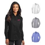 Imprinted Port Authority® Ladies Long Sleeve Value Poplin Shirt (Q675235) -  - 1