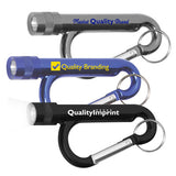 Metal Carabiner Flashlights Combo with Split Ring Attachments  Imprinted with Logo (Q683411)