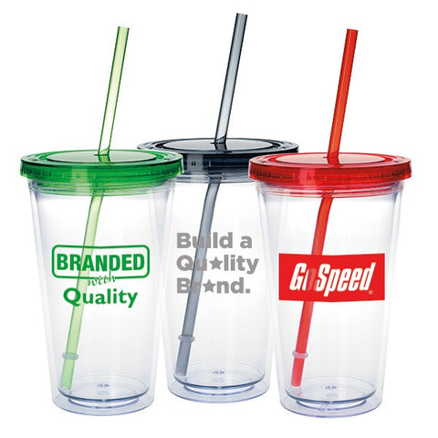 Double Wall Clear Tumblers with Colored Lid 18 oz Logo Tumblers