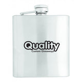 Stainless Steel Flask (6 oz)  Imprinted with Logo (Q722465)