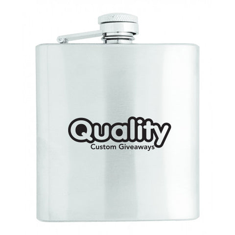 Logoed Stainless Steel Flask (6 oz) (Q722465) -  - 1