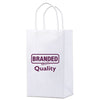 "Logoed Small White Kraft Bags (5.25"" x 3.25"" x 8.5"" x 3.25"") (Q77340) -  - 1"