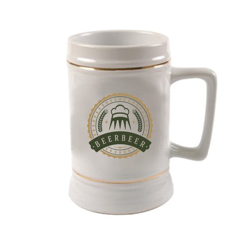 22 Oz White Beer Steins With Gold Trim (Q787711)