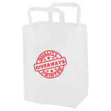 "Personalized Clear Frosted Tri-Fold Handle Shopping Bags (8"" x 5"" x 10"" x 5"") (Q80266) -  - 1"
