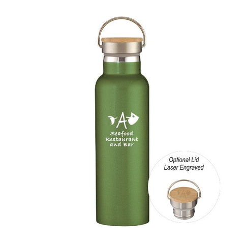 21 Oz. Liberty Stainless Steel Water Bottle With Wood Lid (Q943811)