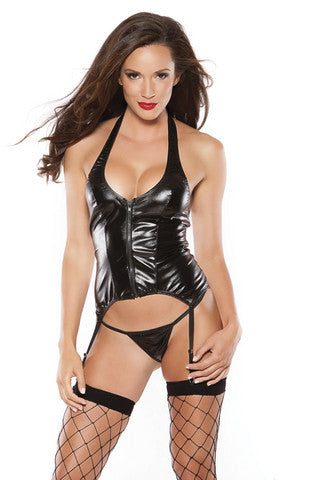 Sexy Kitten Corset Allure Leather Lingerie Sets Bustiers and Corsets