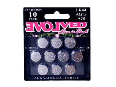 Lr-44 Battery 10-Pack Evolved Novelties AG-13 Watch Battery