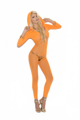 Bodystocking with Hood - Neon  Orange - One Size Elegant Moments Lingerie & Sexy Apparel Dancer Wear Collection