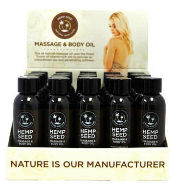 Hemp Massage Oil Assorted 2 Oz. - 25 Piece Display Earthly Body Made in the USA