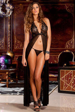 2-piece Halter Gown and G-string Set - Black - Medium/Large