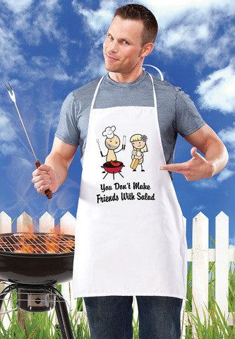 You Don't Make Friends With Salad BBQ Apron - White Sale Items Gag Gifts & Novelties Supplies